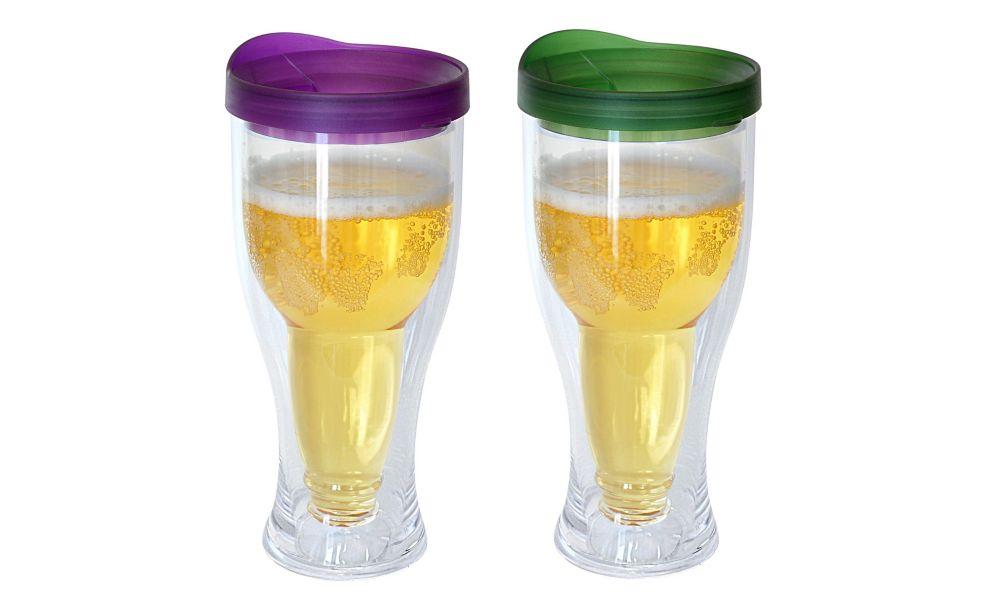 Beer Mug Purple/Green 2 Pack
