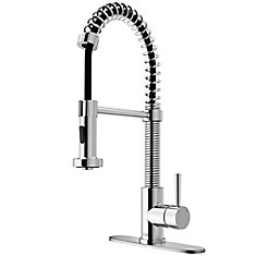 Chrome Pull Out Spray Kitchen Faucet With Deck Plate