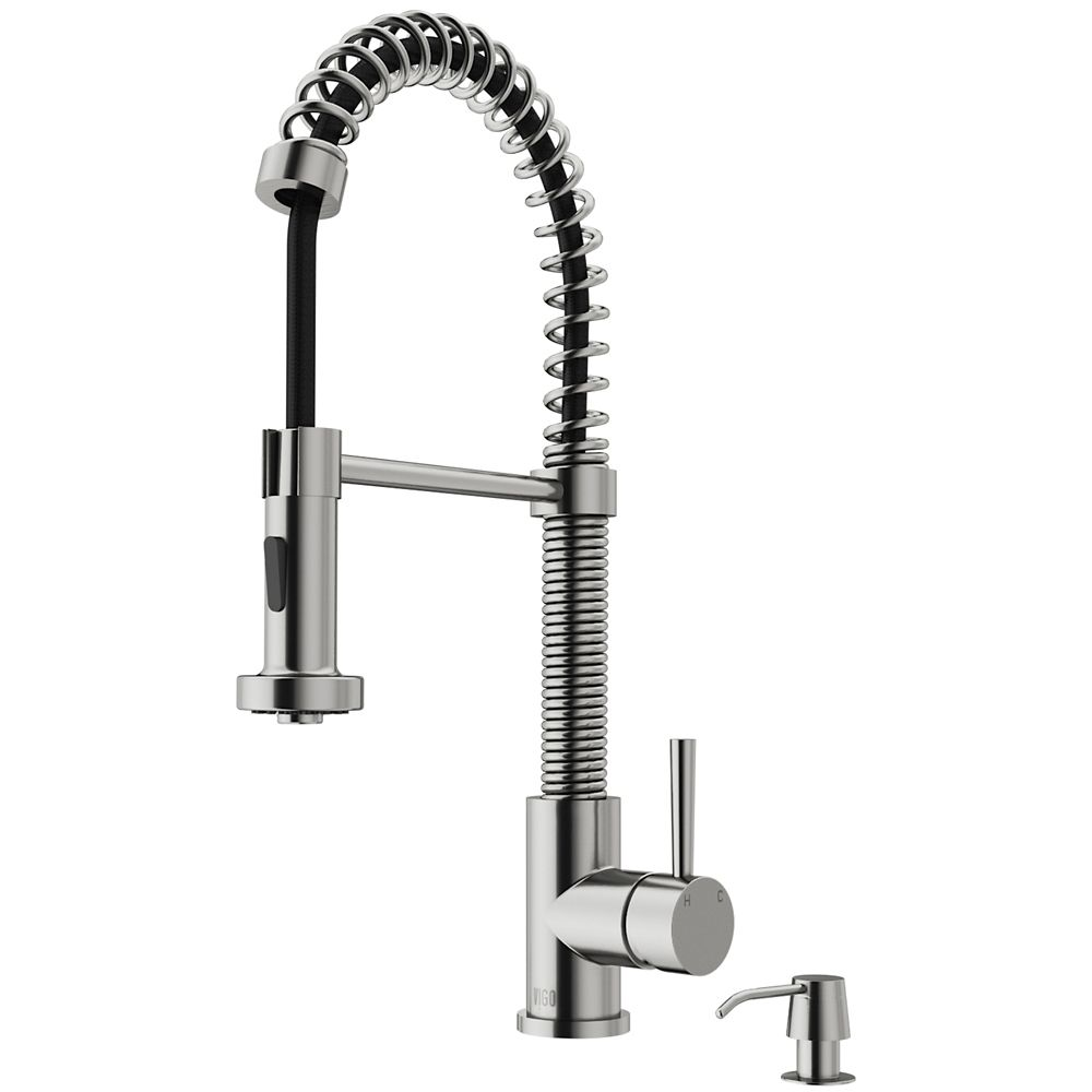 Stainless Steel Pull-Out Spray Kitchen Faucet with Soap Dispenser VG02001STK2 Canada Discount