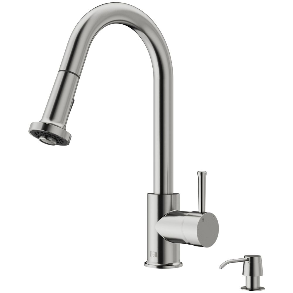 Stainless Steel Pull-Out Spray Kitchen Faucet with Soap Dispenser VG02002STK2 Canada Discount