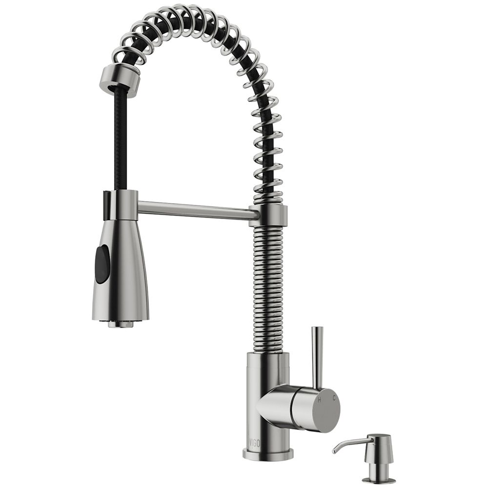 Stainless Steel Pull-Out Spray Kitchen Faucet with Soap Dispenser