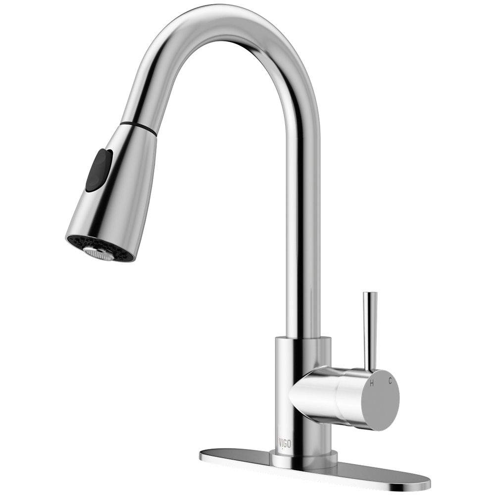 Chrome Pull-Out Spray Kitchen Faucet with Deck Plate
