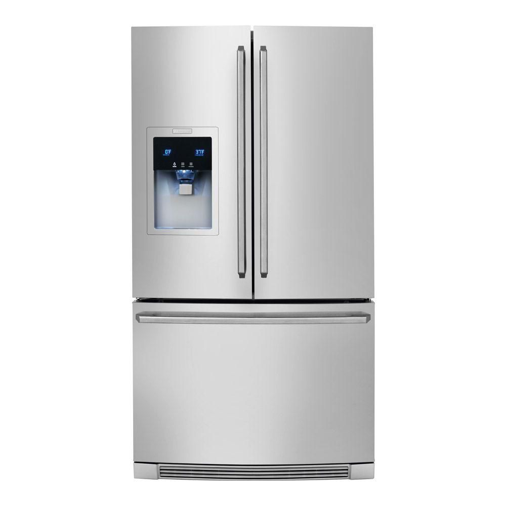 23 cu. ft. Counter-Depth French Door Refrigerator with Ice and Water Dispenser in Stainless Steel