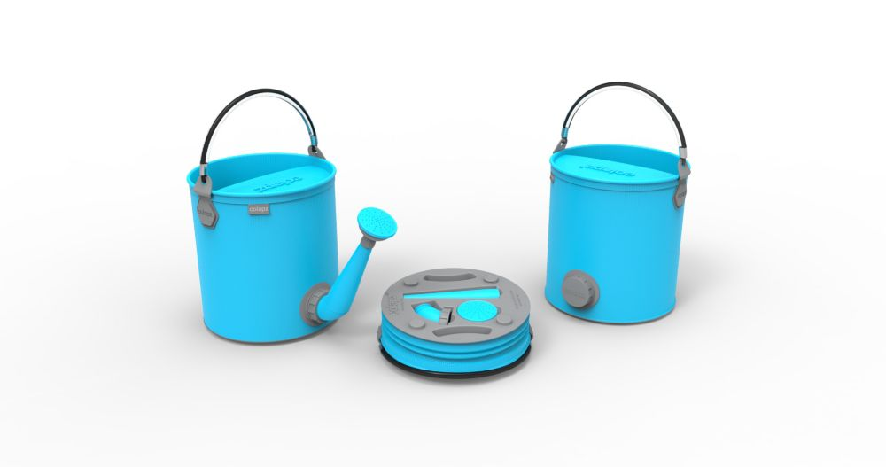 Colourwave Colpaz -Collapsible 2 in 1 can + bucket Aqua blue