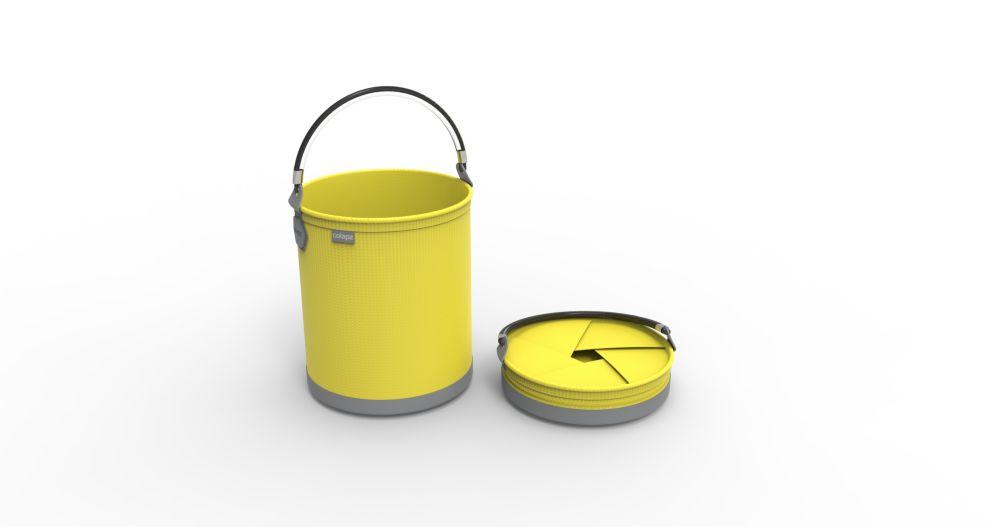 Seau pliant, de couleur jaune vif