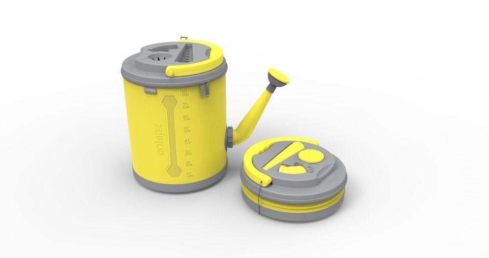 Arrosoir pliant, de couleur jaune vif