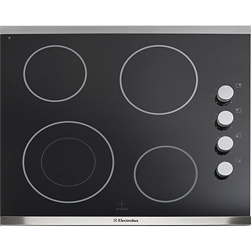 24-inch Smooth Surface Electric Cooktop with 4 Elements in Stainless Steel