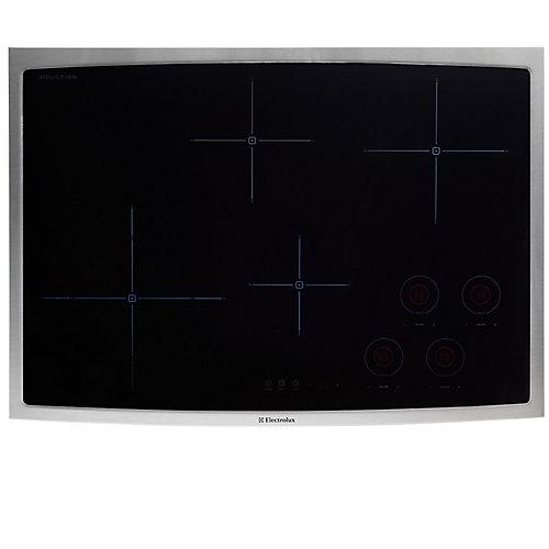 Table de cuisson à induction de 30 pouces à surface lisse avec 4 éléments en acier inoxydable