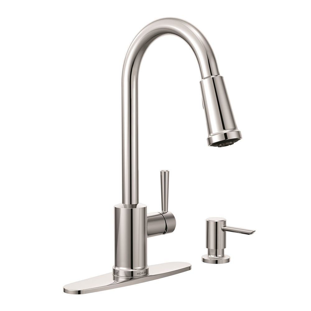 moen boutique single handle reflex pulldown kitchen faucet in spot rh homedepot ca  moen boutique kitchen faucet
