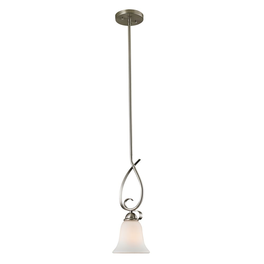1 Light Mini Pendant In Brushed Nickel With Led Option