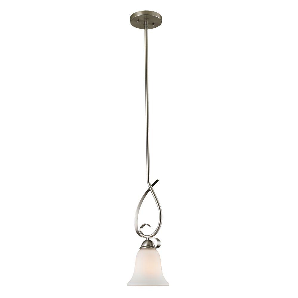 Luminaire suspendu miniature à 1ampoule ou DEL au fini nickel brossé