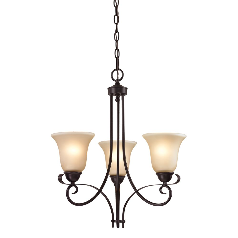 3 Light Chandelier In Oil Rubbed Bronze With Led Option