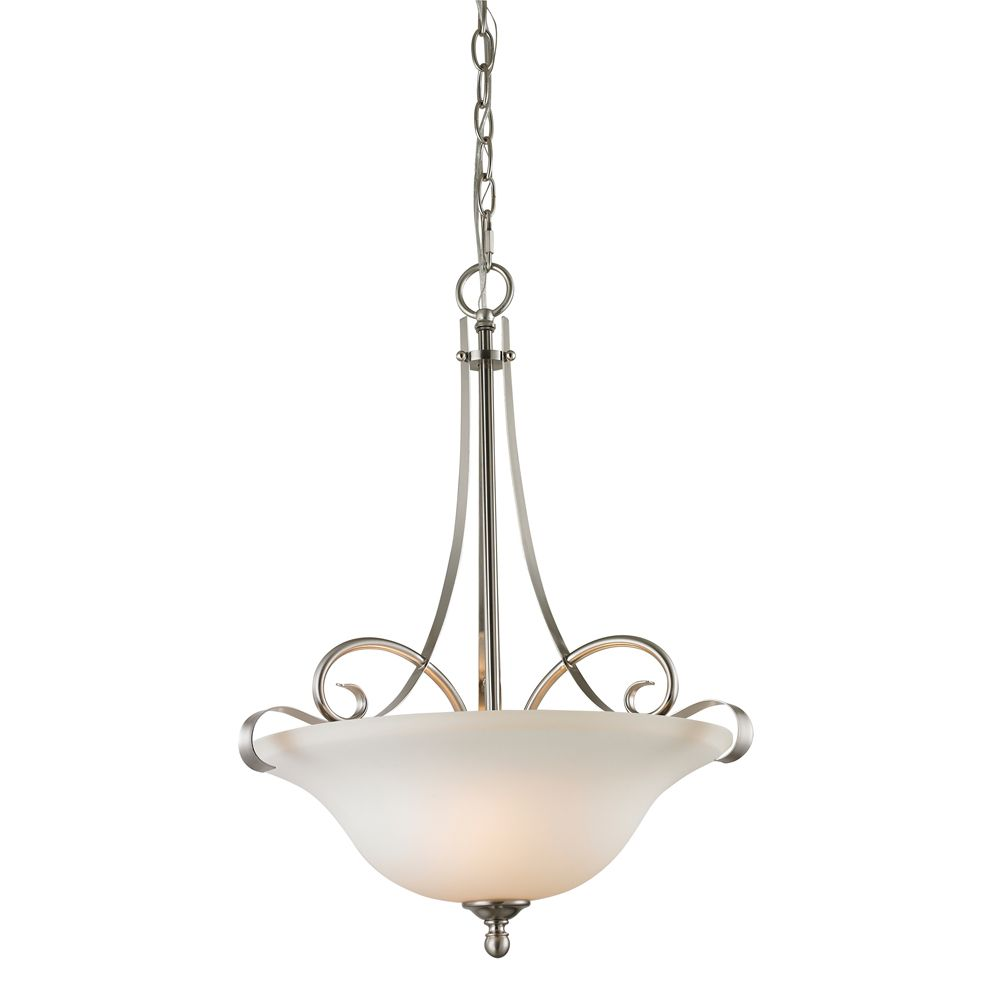2 Light Pendant In Brushed Nickel