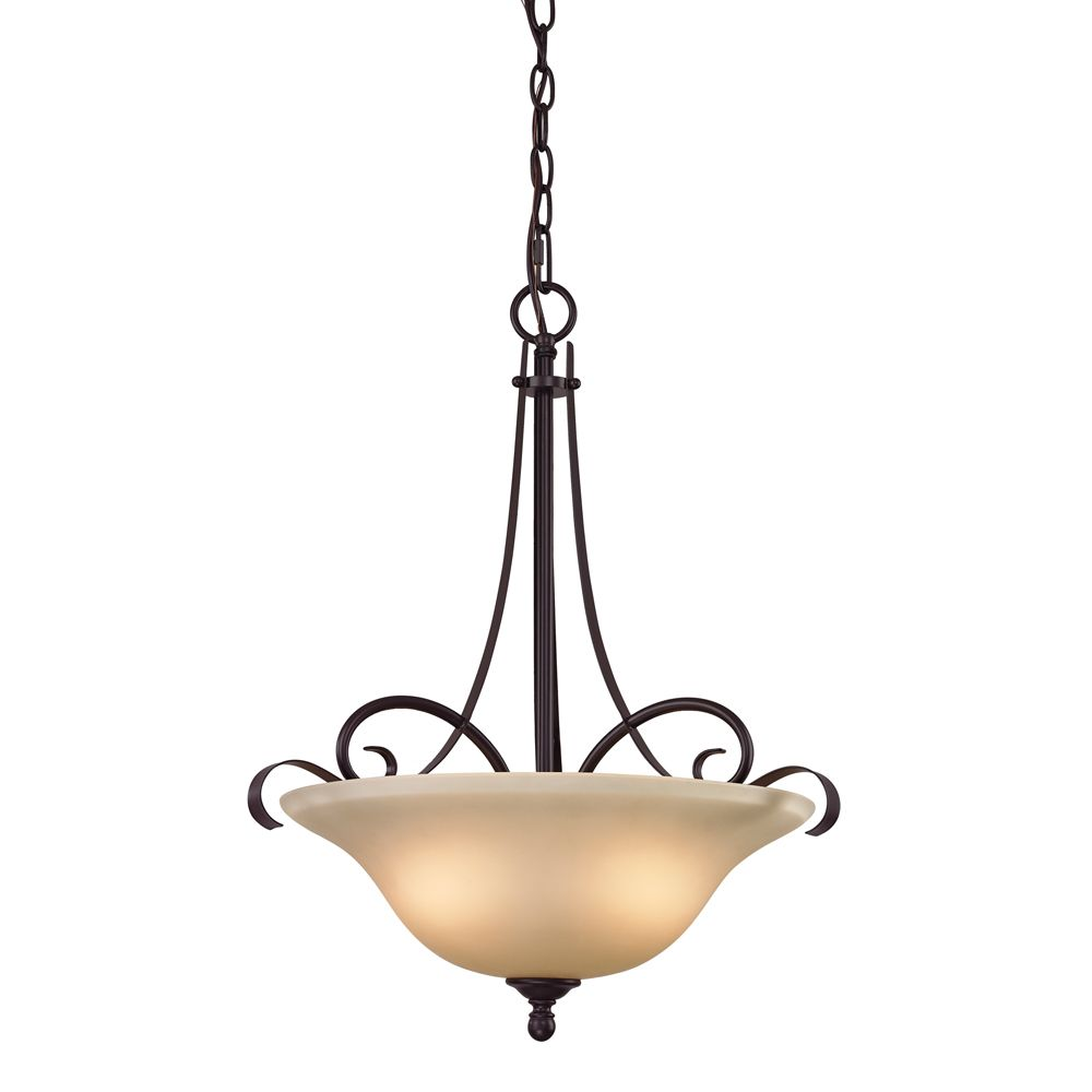 3 Light Pendant In Oiled Rubbed Bronze