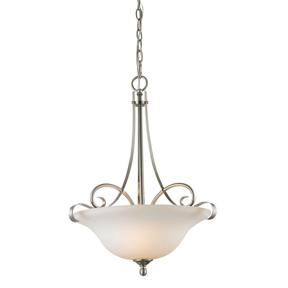 Titan Lighting 3 Light Pendant In Brushed Nickel With Led Option