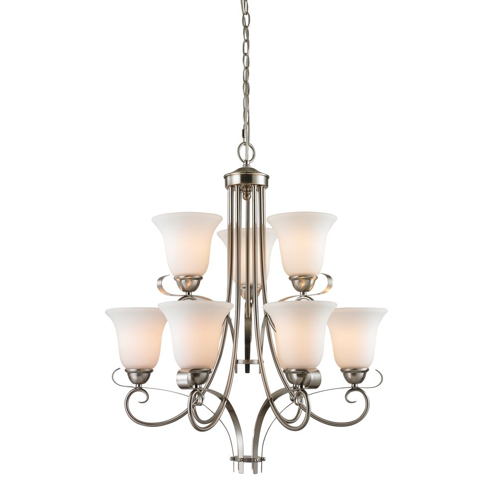 9 Light Chandelier In Brushed Nickel