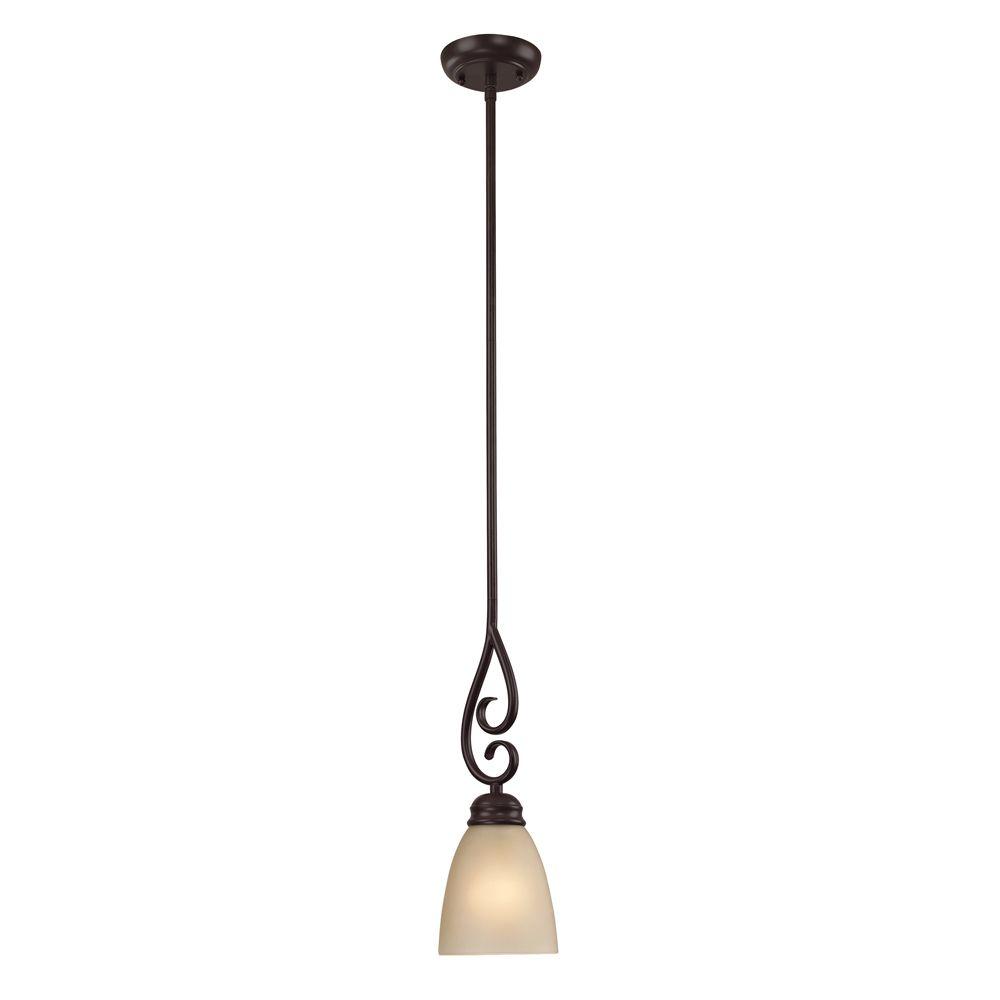 Luminaire suspendu miniature à 1ampoule ou DEL au fini bronze huilé