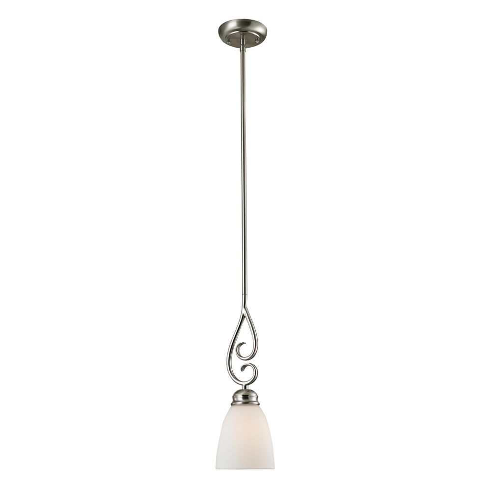 Titan Lighting 1 Light Mini Pendant In Brushed Nickel With Led Option