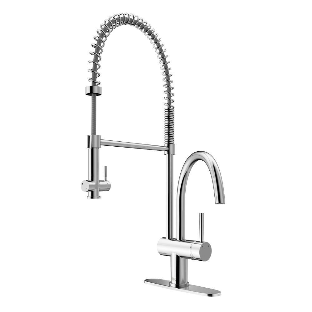 Chrome Pull-Down Spray Kitchen Faucet with Deck Plate