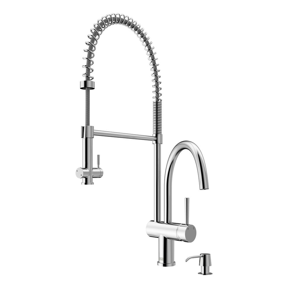 Chrome Pull-Down Spray Kitchen Faucet with Soap Dispenser