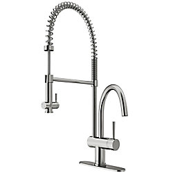 VIGO Dresden Single-Handle Pull-Down Sprayer Kitchen Faucet with Deck Plate in Stainless Steel