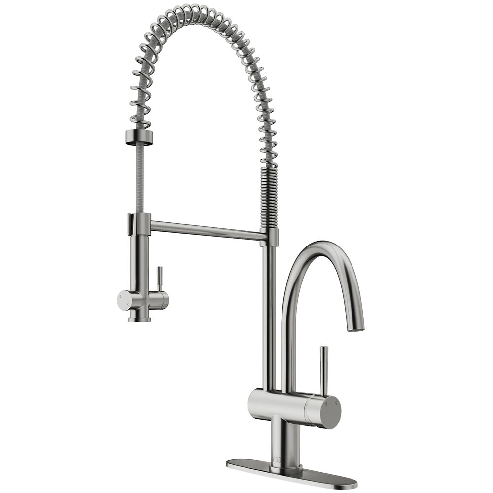 Stainless Steel Pull-Down Spray Kitchen Faucet with Deck Plate