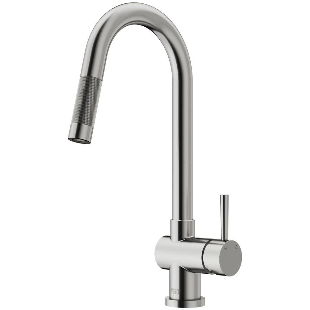 Vigo robinet de cuisine bec r tractable acier for Prix d un robinet de cuisine