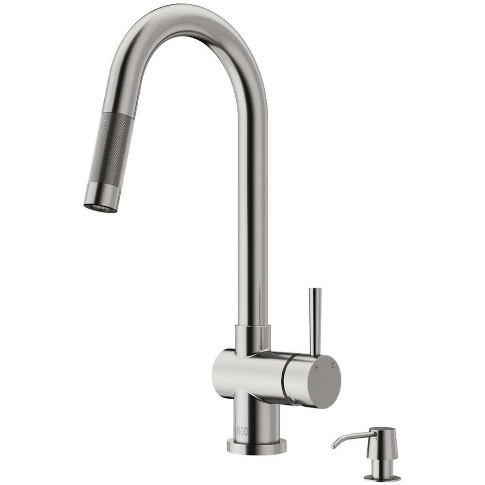 Stainless Steel Pull-Out Kitchen Faucet with Soap Dispenser VG02008STK2 in Canada