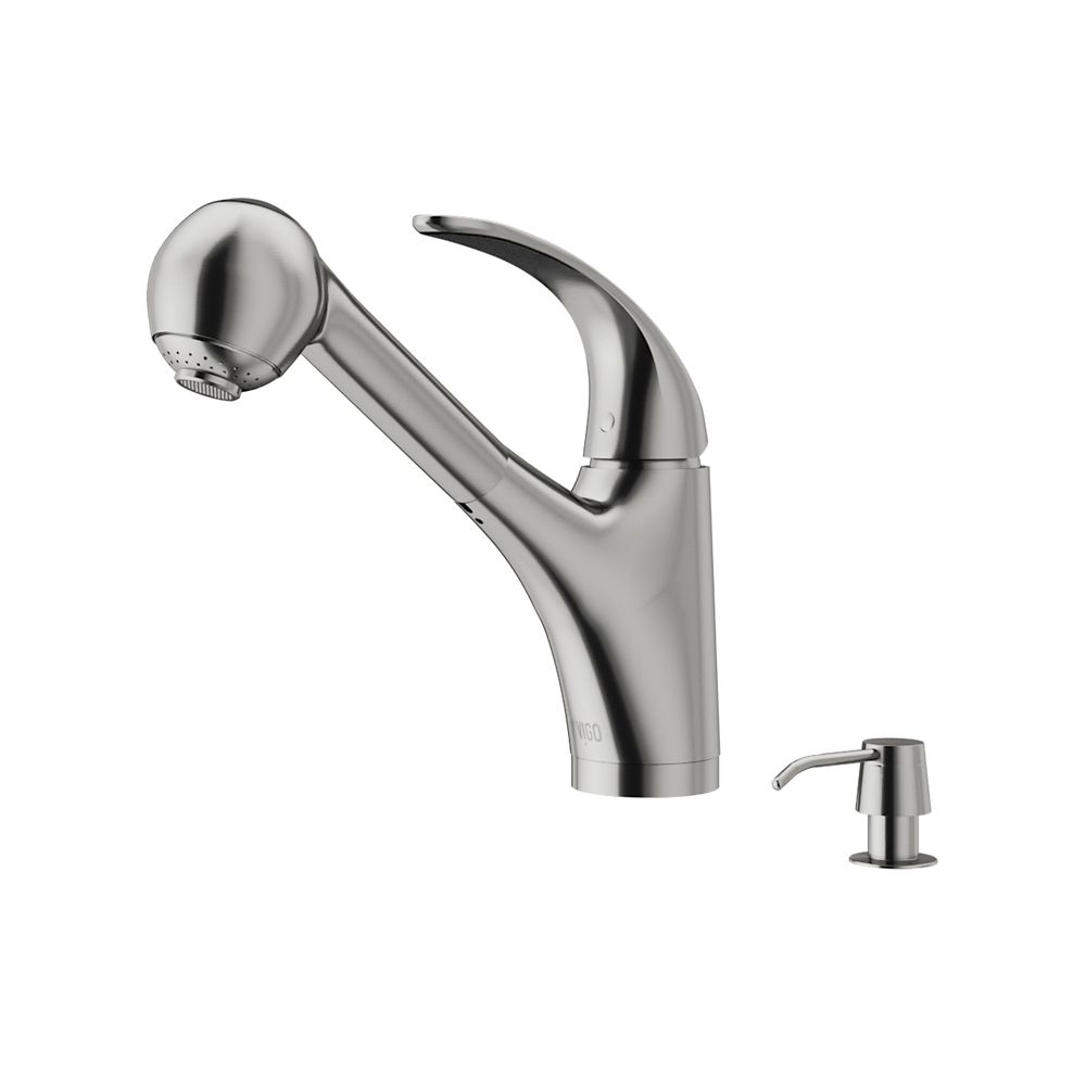Stainless Steel Pull-Out Spray Kitchen Faucet with Soap Dispenser VG02011STK2 in Canada
