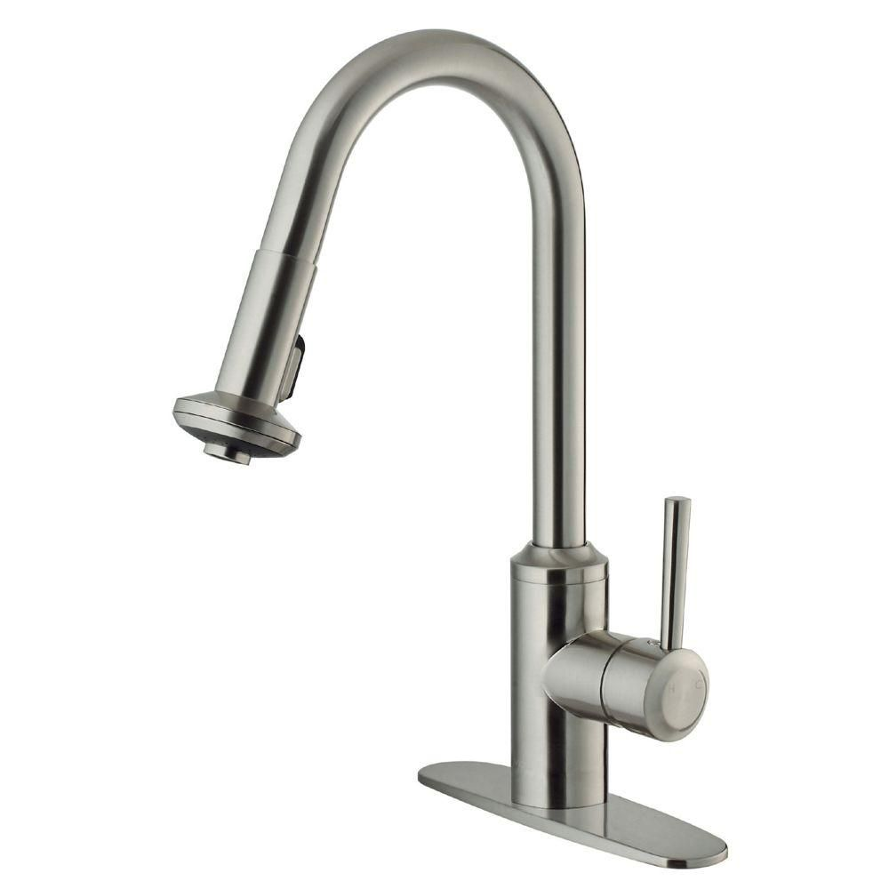 vigo stainless steel pull out spray kitchen faucet with