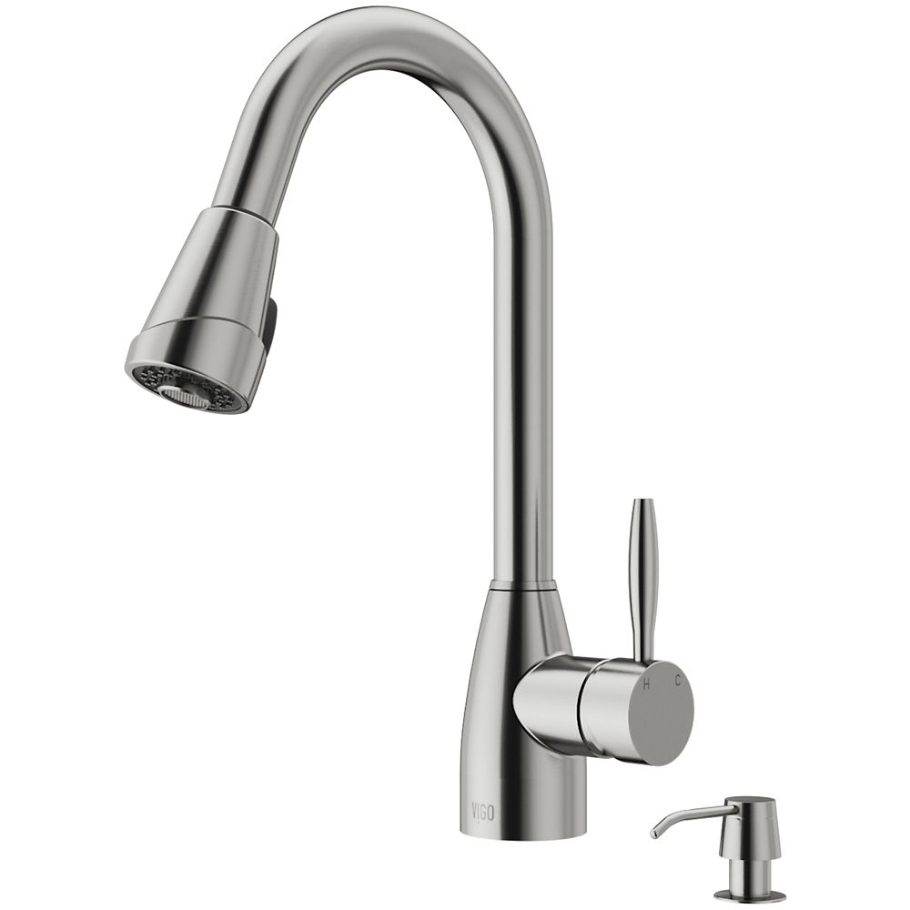 Stainless Steel Pull-Out Spray Kitchen Faucet with Soap Dispenser VG02014STK2 in Canada
