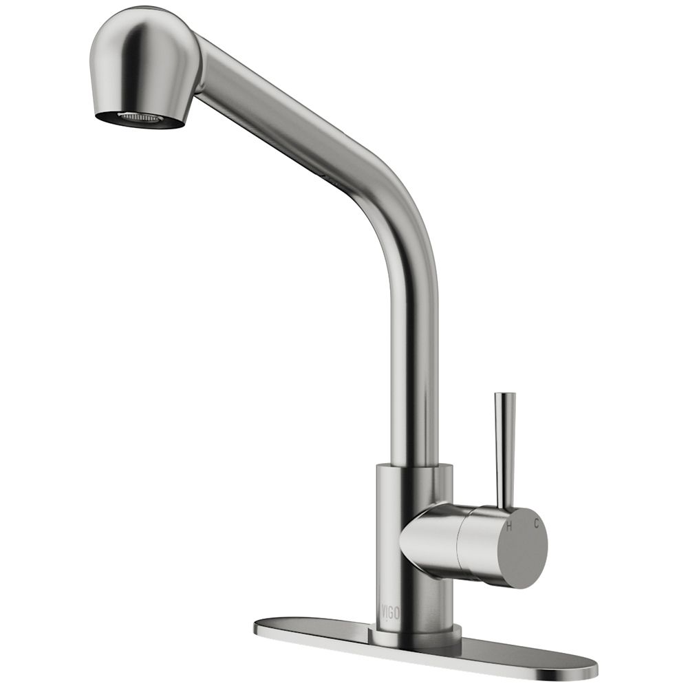 Stainless Steel Pull-Out Spray Kitchen Faucet with Deck Plate VG02019STK1 Canada Discount