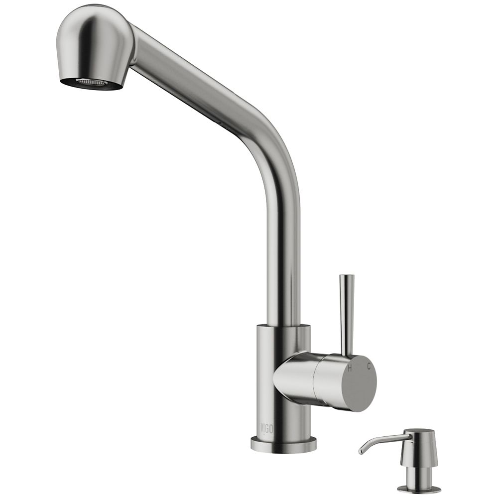 Stainless Steel Pull-Out Spray Kitchen Faucet with Soap Dispenser VG02019STK2 Canada Discount