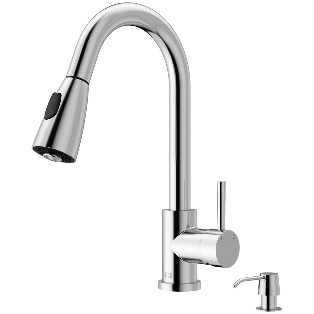 vigo chrome pull out spray kitchen faucet with soap dispenser the