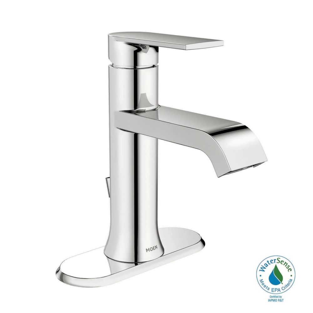Genta Single Hole 1 Handle Low Arc Bathroom Faucet In Chrome With Lever  Handle