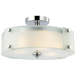 Canarm Scope 3-Light Chrome Semi-Flush Mount Light with Frosted Glass