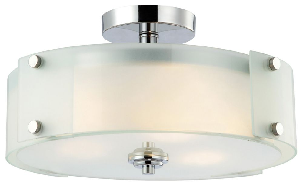 SCOPE 3 Light Chrome Flush Mount With Frosted Glass
