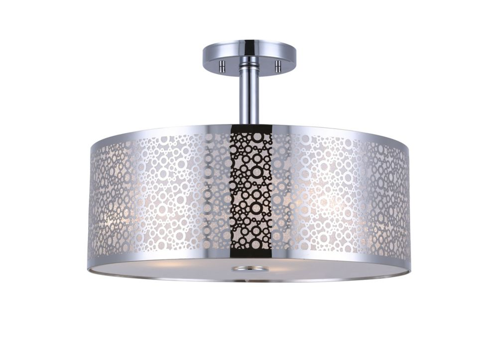 PIERA 3 Light Chrome Semi-Flush Mount with Glass Diffuser