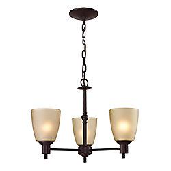 Titan Lighting 3 Light Chandelier In Oil Rubbed Bronze