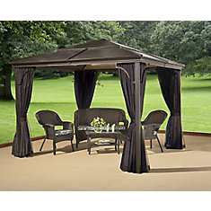 Sumatra 10 ft. x 14 ft. Hard Top Sun Shelter Gazebo in Brown and Mocha
