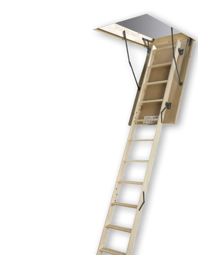 Fakro Attic Ladder (Wooden Basic DIY) LWS-M 27 1/2 x 47 300lbs 9ft2in
