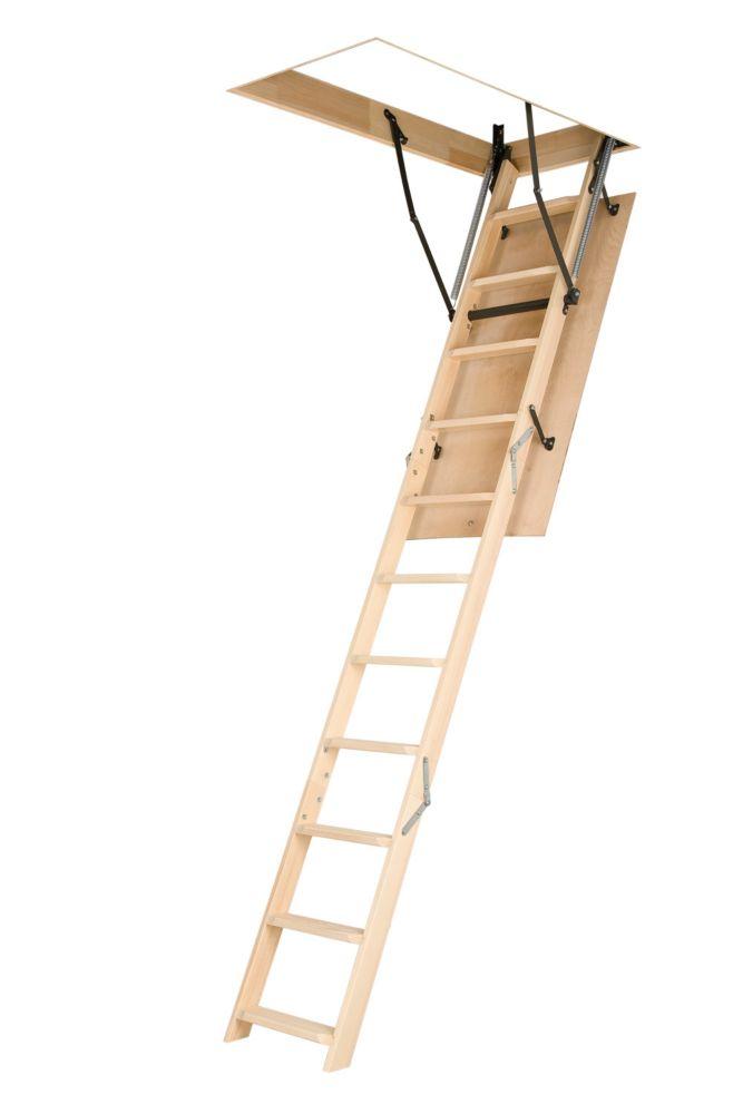 Fakro Échelle de grenier (en bois, de base) LWN 22 1/2 x 47 - 250 lb - 8 pi 11 po
