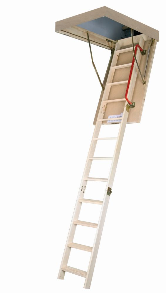 Fakro 10 ft. 1-inch, 25-inch x 54-inch Insulated Wood Attic Ladder with 300 lb. Capacity Type IA Rating