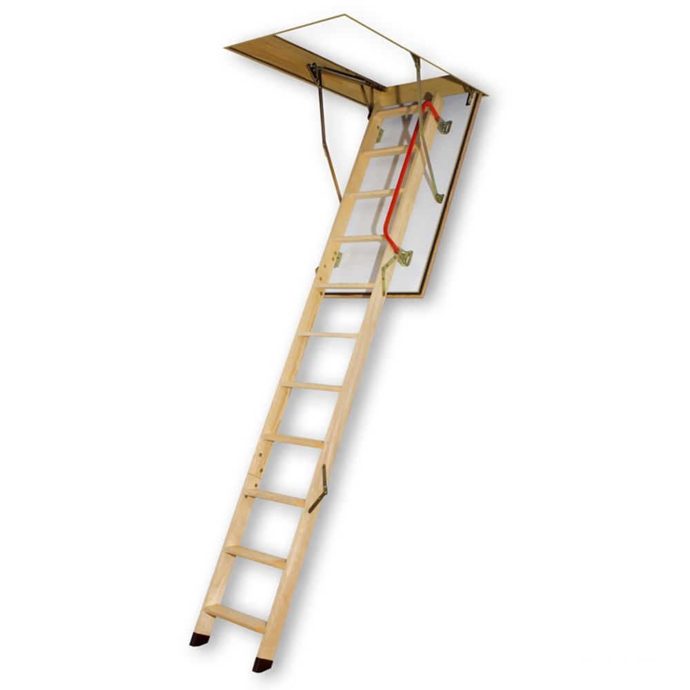 Fakro 8 ft. 11-inch, 47-inch x 22.5-inch Fire Rated Wood Attic Ladder with 300 lb. Capacity Type IA Rating