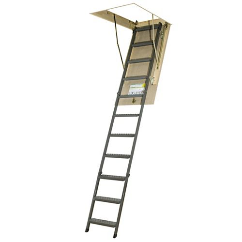 Fakro 10 ft. 1-inch, 54-inch x 22-1/2-inch Steel Attic Ladder with 300 lb. Load Capacity Type IA Rating