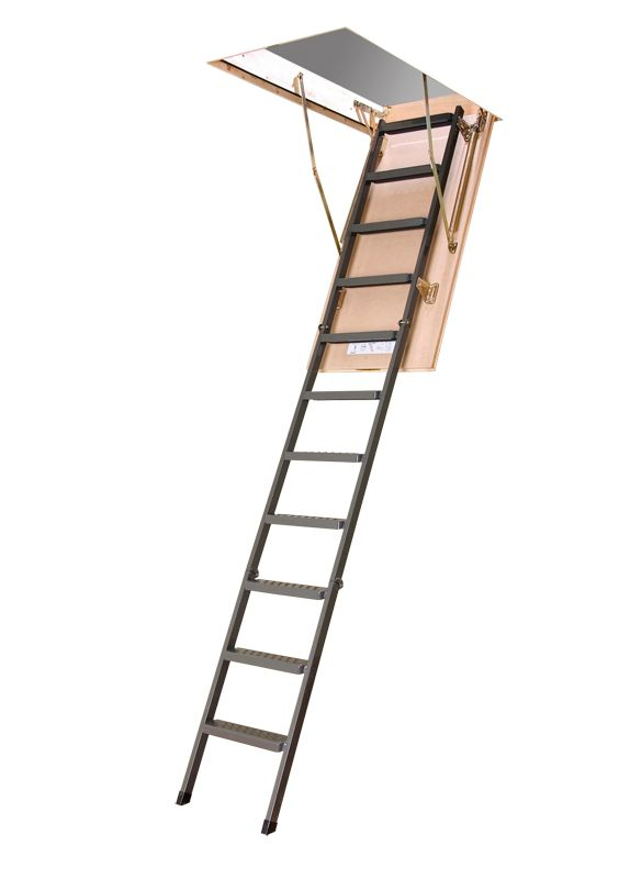 Fakro LMS 10 ft., 25-inch x 54-inch Insulated Steel Attic Ladder with 350 lb. Load Capacity Type IA Rating