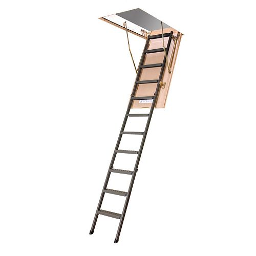 Fakro 10 ft. 1-inch, 30-inch x 54-inch Insulated Steel Attic Ladder with 350 lb. Capacity Type IA Rating