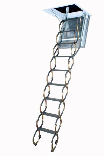 Fakro Attic Ladder (Scissor Fireproof Door Insulated) LSF 22 1/2 x 47 300lbs 9ft 10in