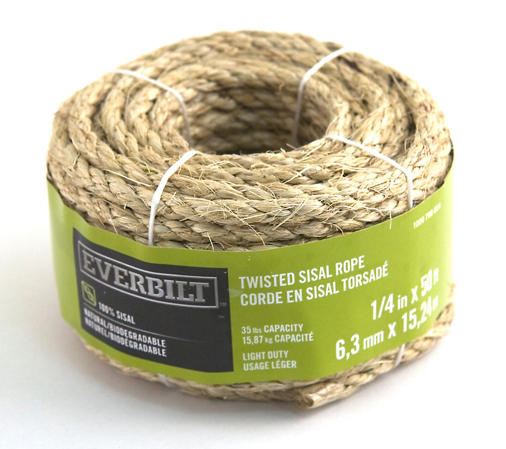 Everbilt 1/4-inch x 50 Feet SISAL TWISTED NATURAL | The Home Depot