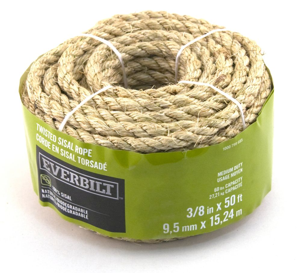 3/8 Inch  x 50 Feet  SISAL TWISTED NATURAL